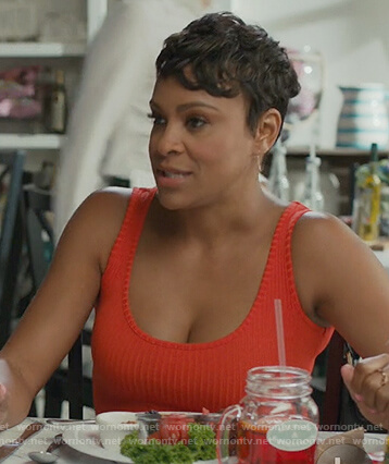 Angela's red ribbed tank top on American Housewife