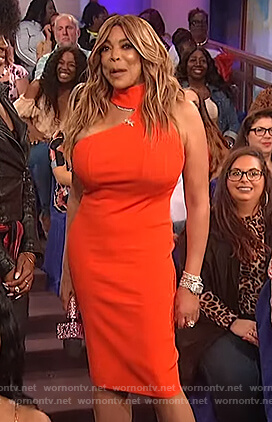 Wendy's red cutout dress on The Wendy Williams Show