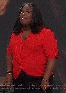 Sheryl's red twisted top on The Talk