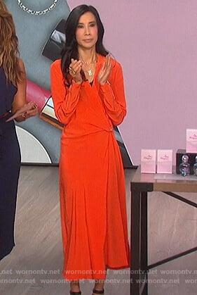 Lisa Ling's orange surplice midi dress on The Talk