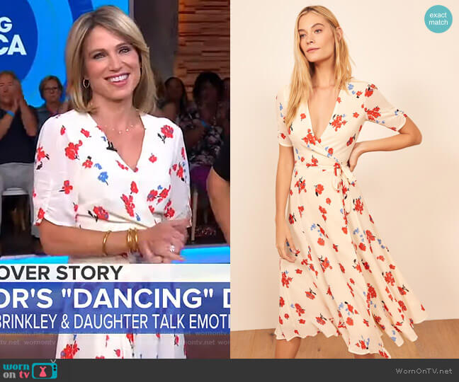 Napa Wrap Mini Dress by Reformation worn by Amy Robach  on Good Morning America