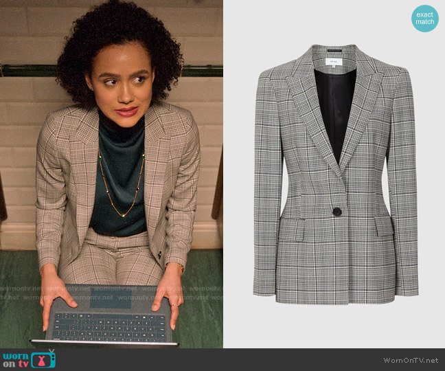 Reiss Alenna Blazer worn by Maya (Nathalie Emmanuel) on Four Weddings & a Funeral