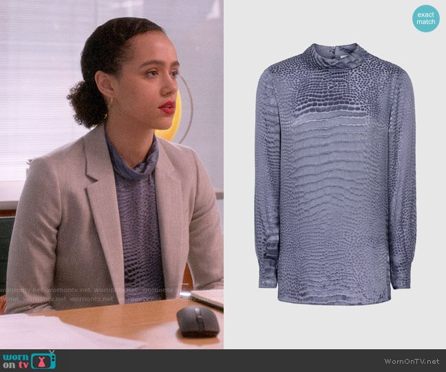 Reiss Della Burnout Snake Top worn by Maya (Nathalie Emmanuel) on Four Weddings & a Funeral
