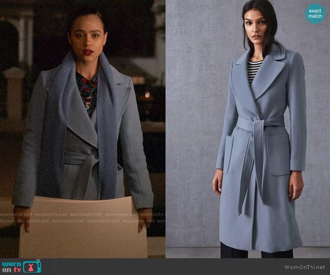 Reiss Faris Coat worn by Maya (Nathalie Emmanuel) on Four Weddings & a Funeral