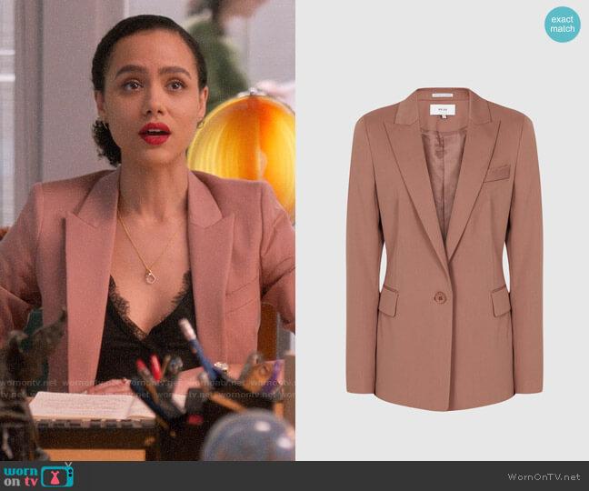 Reiss Harper Jacket in Dusky Pink worn by Maya (Nathalie Emmanuel) on Four Weddings & a Funeral