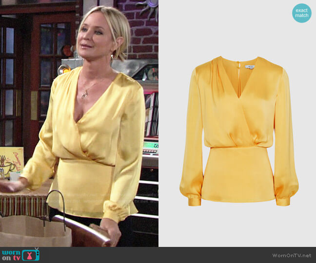 Reiss Miranda Blouse worn by Sharon Collins (Sharon Case) on The Young & the Restless
