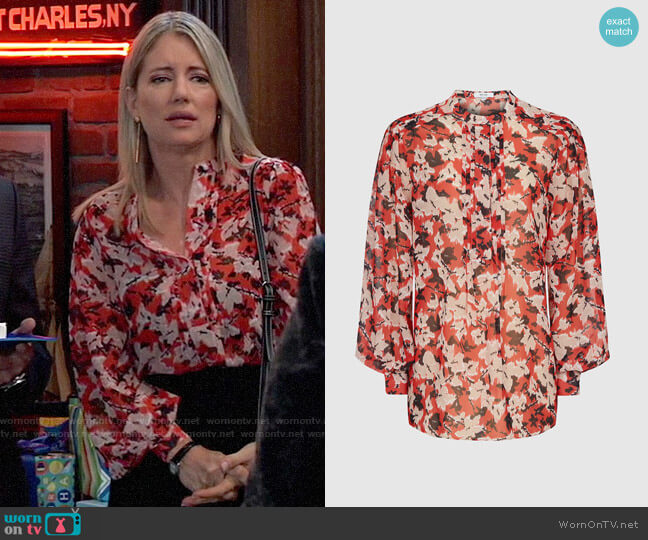 Reiss Provence Blouse worn by Nina Reeves (Cynthia Watros) on General Hospital