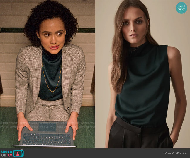 Reiss Solar Top in Teal worn by Maya (Nathalie Emmanuel) on Four Weddings & a Funeral