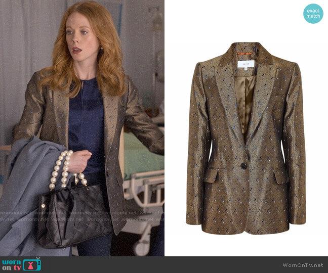 Reiss Zircon Metallic Jacquard Blazer worn by Gemma (Zoe Boyle) on Four Weddings & a Funeral