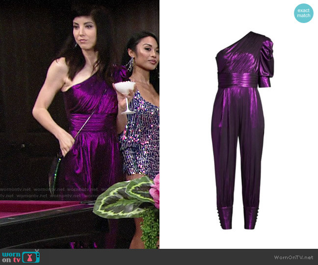 Retrofete Thambi Metallic One-Shoulder Jumpsuit worn by Tallulah (Briana Cuoco) on The Young and the Restless