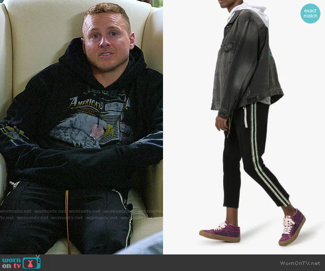 Rhude Tuxedo Stripe Trousers worn by Spencer Pratt  on The Hills New Beginnings