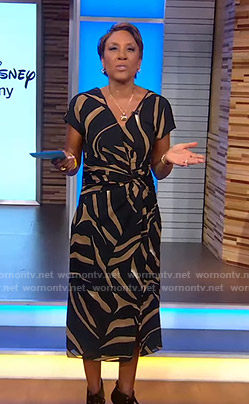 Robin's tiger print v-neck dress on Good Morning America