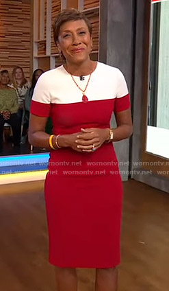 Robin's red and white colorblock dress on Good Morning America