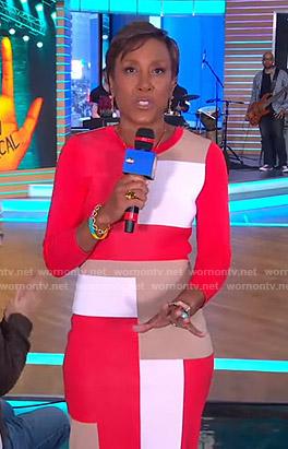 Robin's colorblock knit dress on Good Morning America