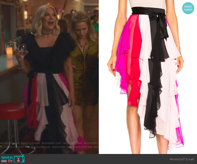 Asymmetric Silk-Chiffon Skirt by Rodarte worn by Tori Spelling  on BH90210