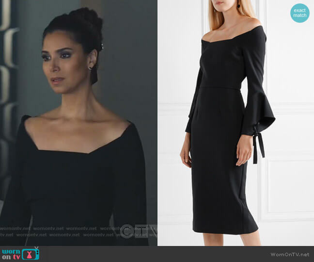Hitchcock Off-the-Shoulder Dress by Roland Mouret worn by Gigi Mendoza (Roselyn Sánchez) on Grand Hotel