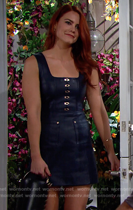 Sally's leather hook dress on The Bold and the Beautiful