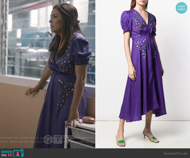 Embroidered Midi Dress by Saloni worn by Eva Longoria on Grand Hotel