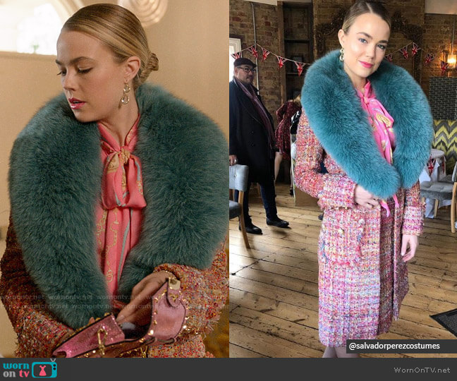 Salvador Perez Fur Collar Coat worn by Ainsley Howard (Rebecca Rittenhouse) on Four Weddings & a Funeral
