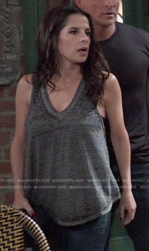 Sam's grey v-neck tank top on General Hospital