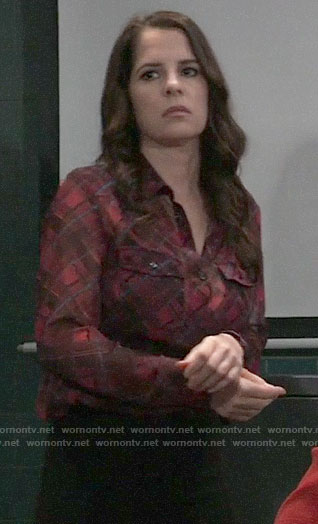Sam's sheer red plaid shirt on General Hospital
