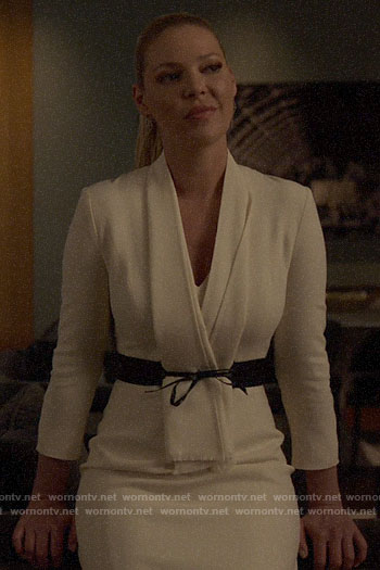 Samantha's white belted dress on Suits