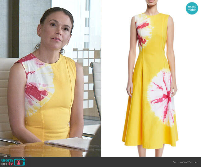 Sand Dollar Print Cotton Midi Dress by Calvin Klein 205W39NYC worn by Liza Miller (Sutton Foster) on Younger