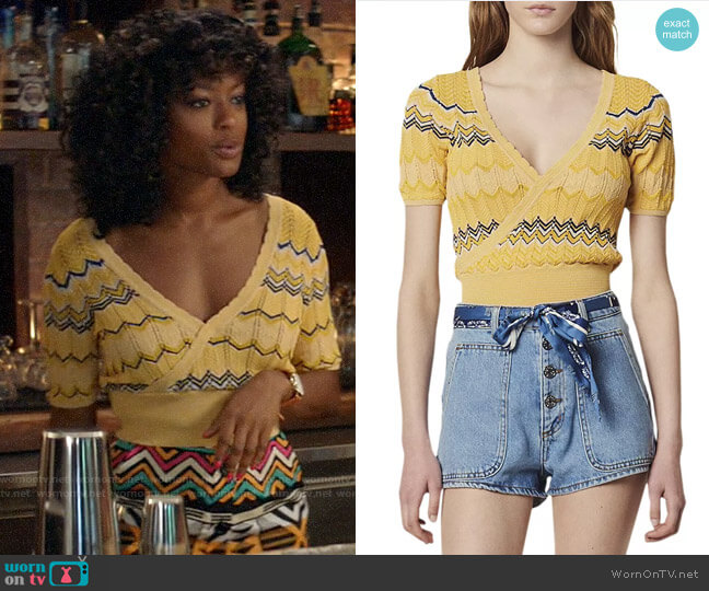 Sandro Salomon Crossover Geo-Pattern Knit Cropped Top worn by Ali Finer (Javicia Leslie) on God Friended Me