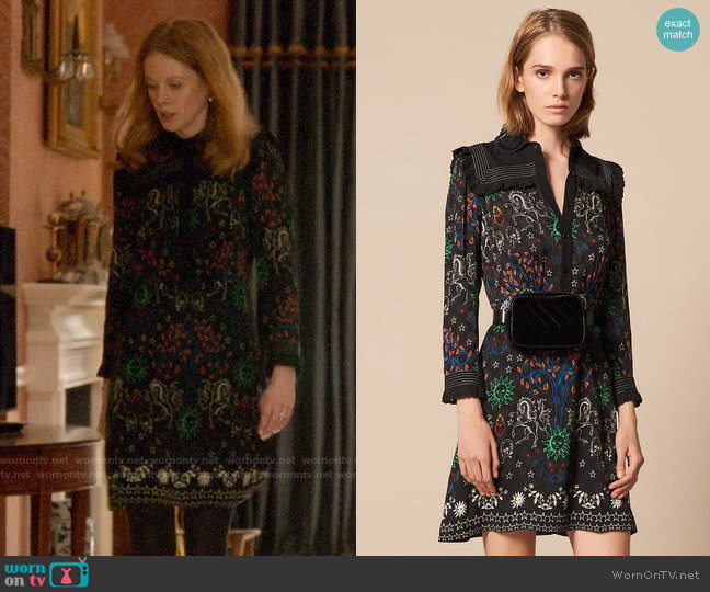Sandro Short Printed Shirt Dress worn by Gemma (Zoe Boyle) on Four Weddings & a Funeral