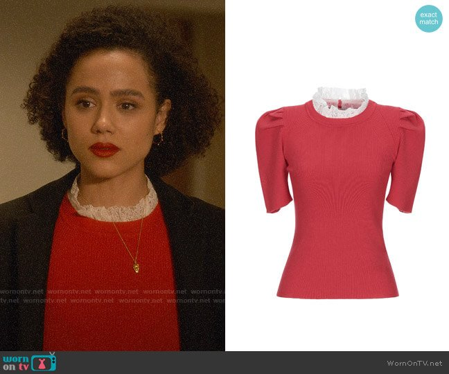 Sandro Lace Detail Sweater worn by Maya (Nathalie Emmanuel) on Four Weddings & a Funeral
