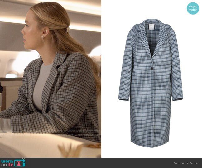 Sandro Sky Blue Coat worn by Ainsley Howard (Rebecca Rittenhouse) on Four Weddings & a Funeral