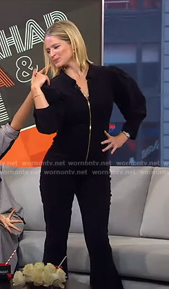 Sara's black corduroy jumpsuit on GMA Strahan Sara And Keke