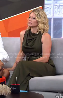 Sara's khaki belted jumpsuit on GMA Strahan Sara And Keke