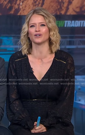 Sara's black burnout v-neck dress on GMA Strahan Sara And Keke