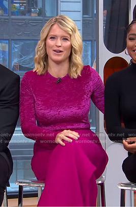 Sara's pink velvet top and wide-leg pants on GMA Strahan Sara And Keke
