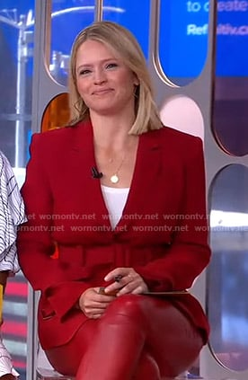 Sara's red belted blazer on GMA Strahan Sara and Keke