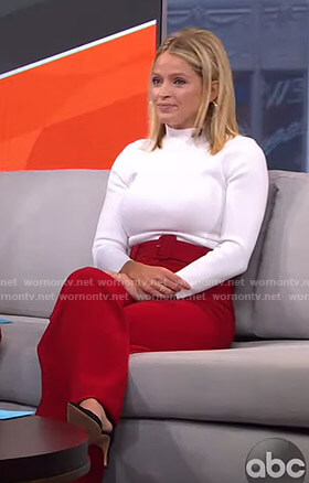 Sara's white top and red belted pants on GMA Strahan Sara And Keke