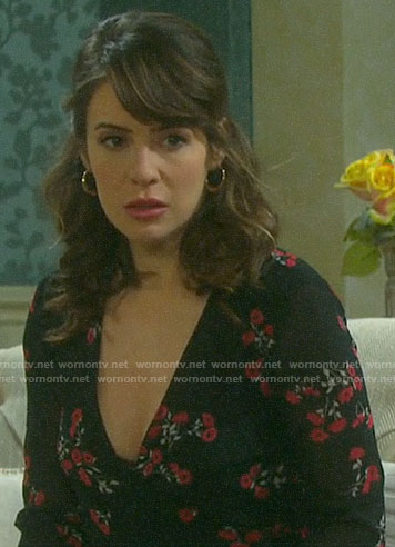 Sarah's black floral wrap top on Days of our Lives