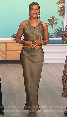 Eve's satin maxi dress on The Talk