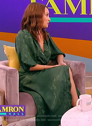 Catt Sadler's green satin wrap dress on Tamron Hall Show
