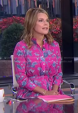 Savannah's pink floral shirtdress on Today