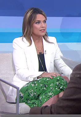 Savannah's white blazer and green skirt on Today