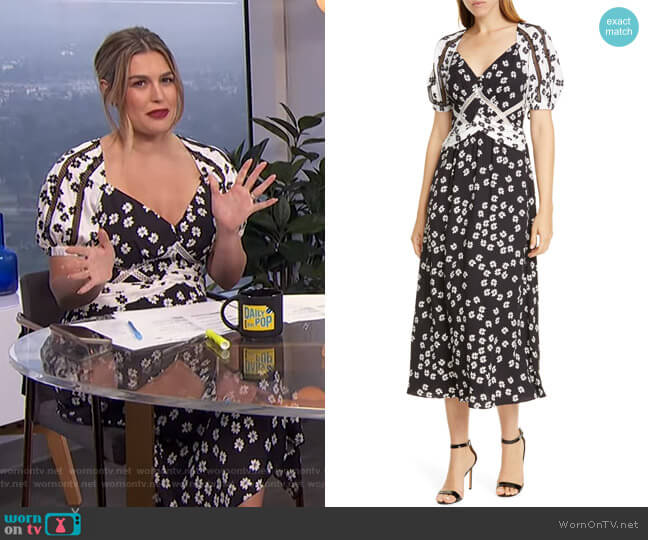 Daisy Print Puff Sleeve Midi Dress by Self Portrait worn by Carissa Loethen Culiner  on E! News