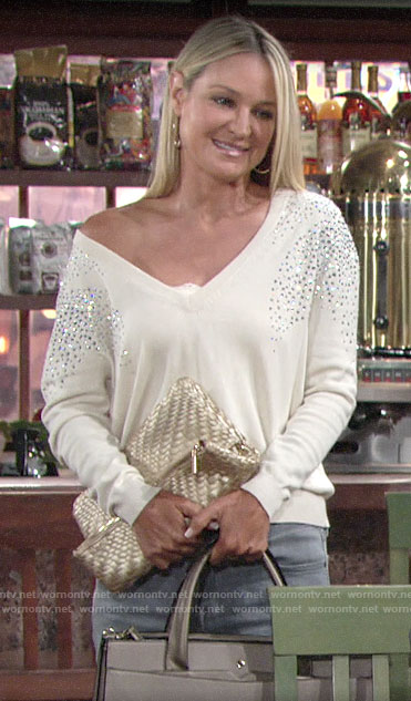 Sharon's ivory embellished v-neck sweater on The Young and the Restless