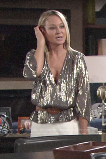 Sharon's metallic v-neck peplum  top on The Young and the Restless