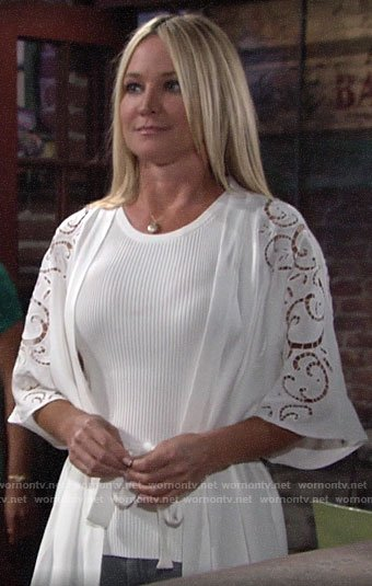 Sharon's white eyelet kimono on The Young and the Restless