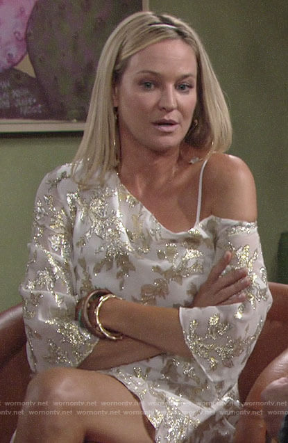 Sharon's white and gold one-shoulder dress on The Young and the Restless