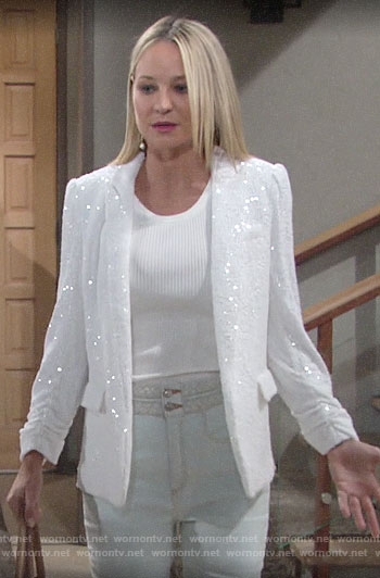Sharon's white sequin blazer with jeans on The Young and the Restless