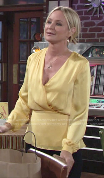 Sharon's yellow cross front blouse on The Young and the Restless