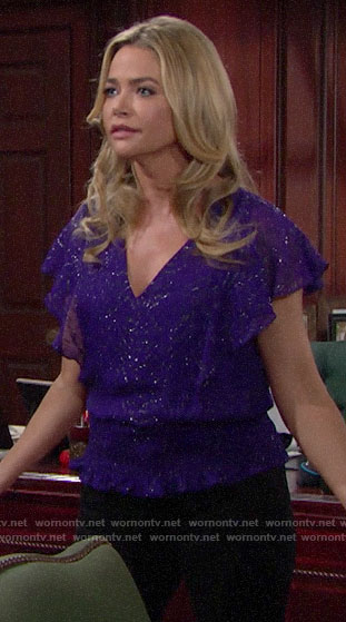 Shauna's purple metallic top on The Bold and the Beautiful